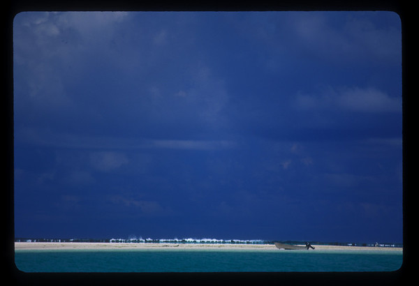 Boat on sandbar near Aitutaki, Cook Islands.