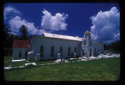 Church, Aitutaki Island, Cook Islands.