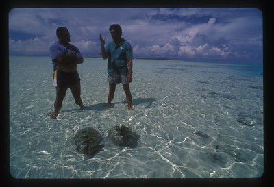 Friends in waters off Aitutaki, Cook Islands.
