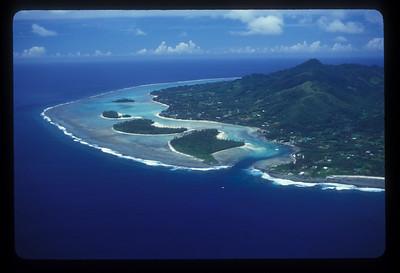 Aerial view of Rarotonga, Cook Islands.