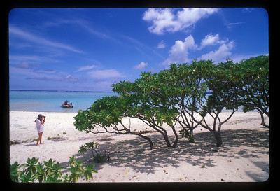 Taking pictures on a motu off Aitutaki, Cook Islands.