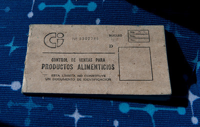 Food rationing booklet, Havana, Cuba.