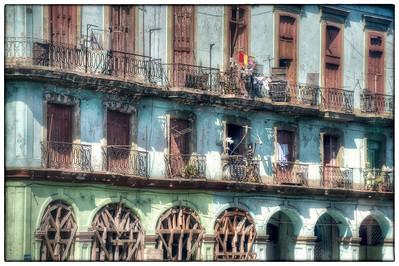 Balconies, Havana, Cuba.