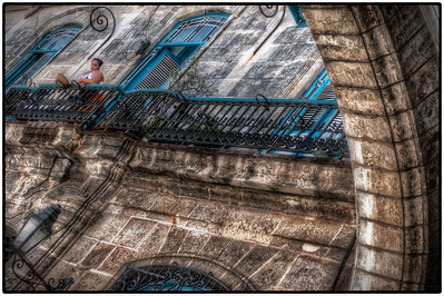Woman on Balcony above Cathedral Square, Havana, Cuba - HDR.