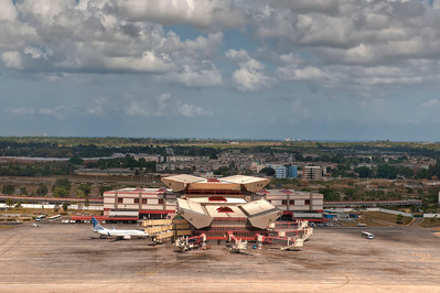 Jose Marti International Airport, Havana, Cuba. That's Copa, the Panamanian airline, on the tarmac. Besides Cubana and charters, the only other two planes we saw were painted Air Angola and Fly Guam.