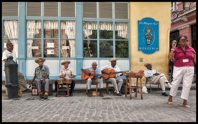 Street music along Obispo Street in Old Havana, Cuba.