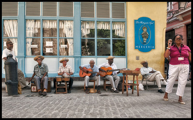 Street music along Obispo Street in Old Havana, Cuba.