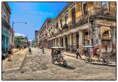 City Street with Taxis, Havana, Cuba - HDR.