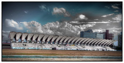 Stadium along the waterfront road, the Malecón, Havana, Cuba - HDR.