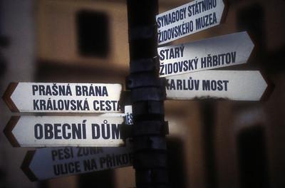 Street signs, Prague, Czech Republic.