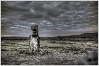 Lone moai near Ahu Tongariki, Easter Island (Rapa Nui).