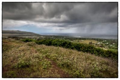 Hanga Roa, Easter Island (Rapa Nui) in the rain.