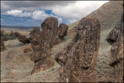 Moai at the Rano Raraku quarry, Easter Island (Rapa Nui) - HDR.