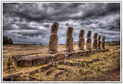 The seven moai facing the sea at Ahu Akivi, Easter Island (Rapa Nui) - HDR.