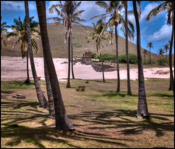 Ahu Nau Nau at Anakena beach, Easter Island (Rapa Nui).