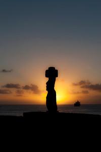 Sunset at Ahu Ko Te Riku, Easter Island (Rapa Nui).