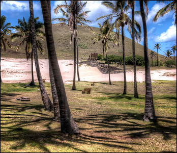 Anakena Beach and Ahu Nau Nau, Easter Island (Rapa Nui).