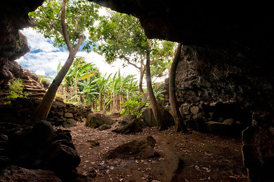 Entrance to Ana Te Pahu, a cave on Easter Island.