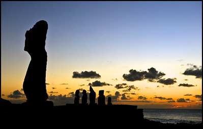 Sunset on Easter Island (Rapa Nui).