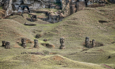 Abandoned moais at the Rano Raraku quarry, Easter Island (Rapa Nui).