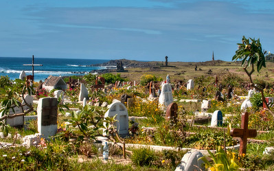 The Hanga Roa cemetery and Ahus Vai Uri and Ko Te Riku, Easter Island (Rapa Nui).