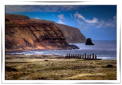 Tongariki Long View, Easter Island (Rapa Nui).