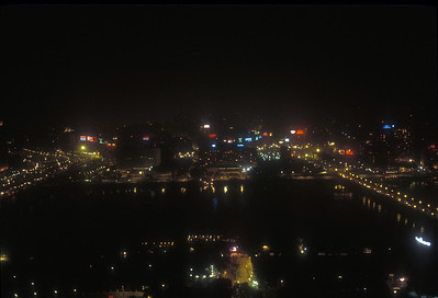 Night view of the river Nile at Cairo, Egypt.