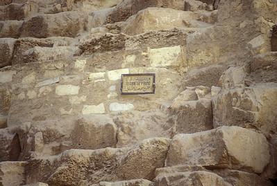 Sign on Pyramid, Giza, Egypt.