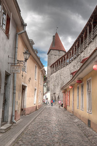 HDR: The Old Town city walls, right, Tallinn, Estonia.