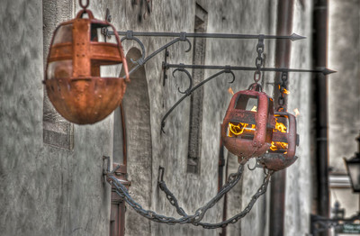 HDR: Lamps in the medieval Old Town, Tallinn, Estonia.