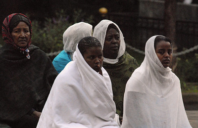 Worshippers at Trinity Church, Addis Ababa, Ethiopia.