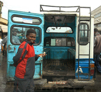 Local taxi, Addis Ababa, Ethiopia. Come on in.