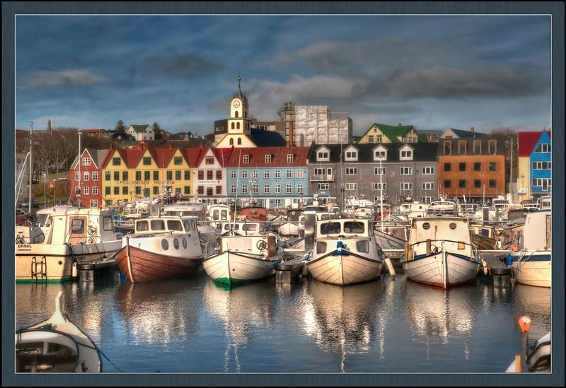 The harbor at Torshavn, Faroe Islands, HDR.