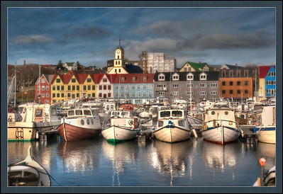 The harbor at Torshavn, Faroe Islands, HDR.