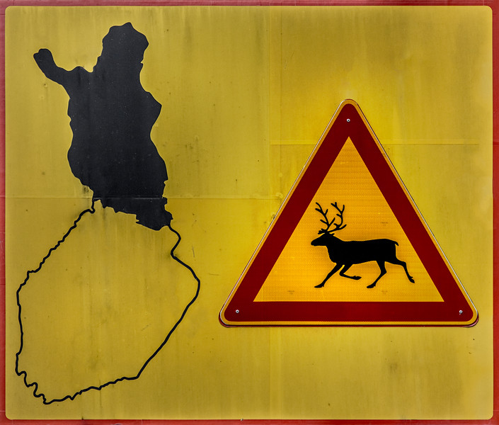 Caution reindeer sign from lapland Finland.
