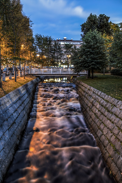 Long exposure of the river flowing through Oulu, Finland.