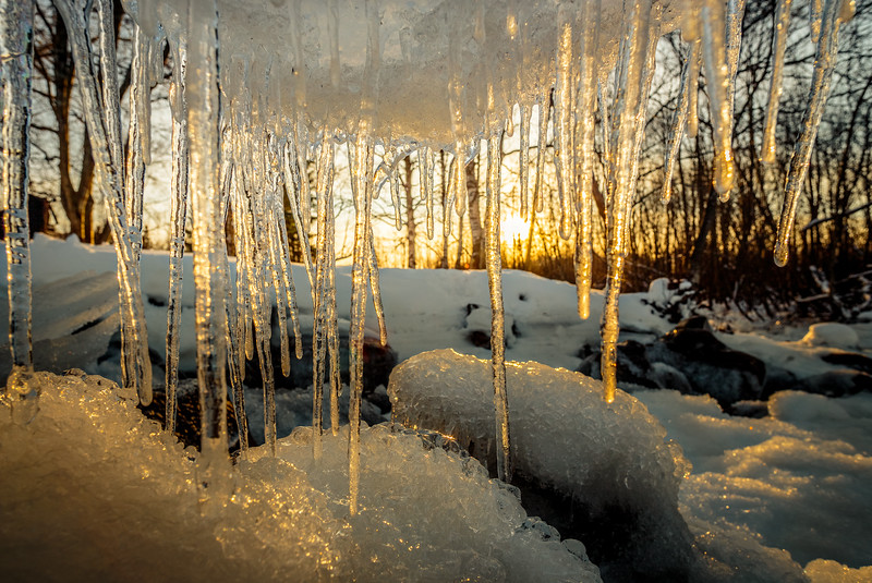 Ice on the river in Oulu, Finland at sunset.