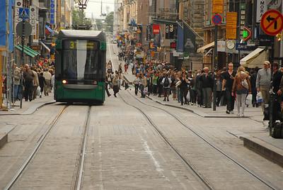 Public transport and shopping, Helsinki, Finland.