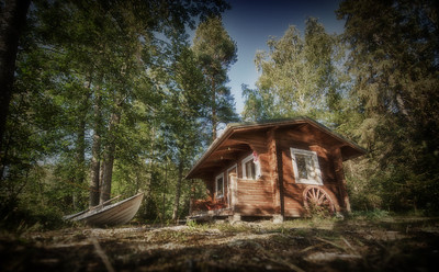 Sauna at the lake, Finland - HDR.