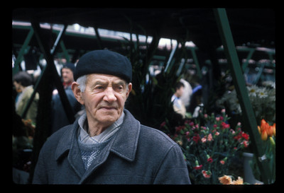 Patron of Markale flower market, 1997, Sarajevo, Bosnia. Markale was the scene of the bloodiest attack in the Bosnia war, in February, 1994.