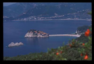 Sveti Stefan on the Adriatic coast of Montenegro.