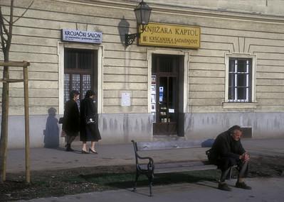 Man on bench, Zagreb, Croatia.