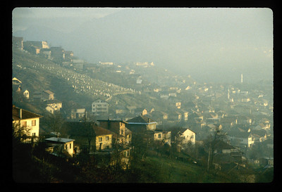 Hillside and Muslim cemetery above Sarajevo, Bosnia.