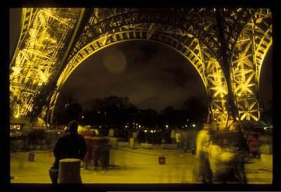 Eiffel Tower at night, Paris, France.