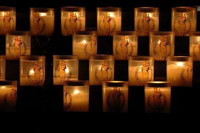 Votive candles, Notre Dame Cathedral, Paris, France.