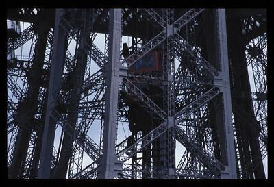 Detail of Eiffel Tower, Paris, France.