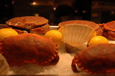 Seafood in display window, Paris, France.