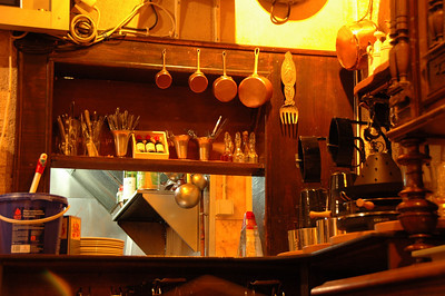 Restaurant kitchen, Paris, France.