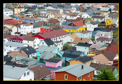 Rooftops of Saint-Pierre town, population about 6,000, St. Pierre Island, France d'Outre-Mer.