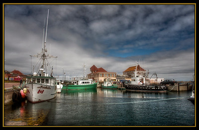 The harbor on St. Pierre Island, France d'Outre-Mer, HDR.